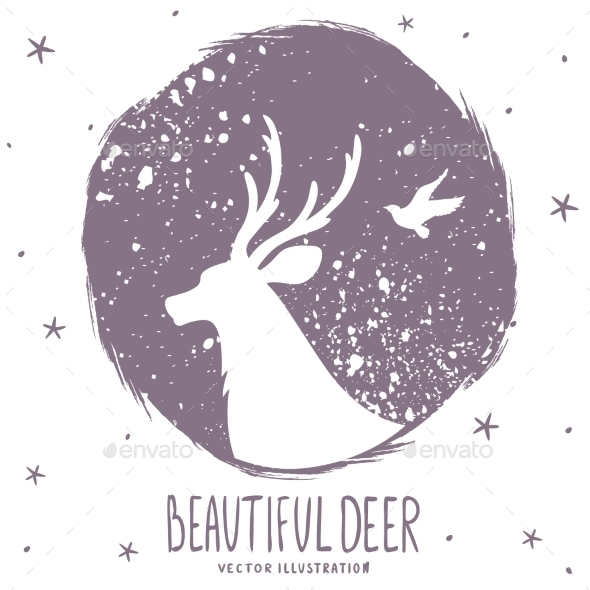 Deer Silhouette Grunge - Animals Characters