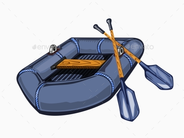 Illustration Of Gray Inflatable Boat With Oars.  - Travel Conceptual