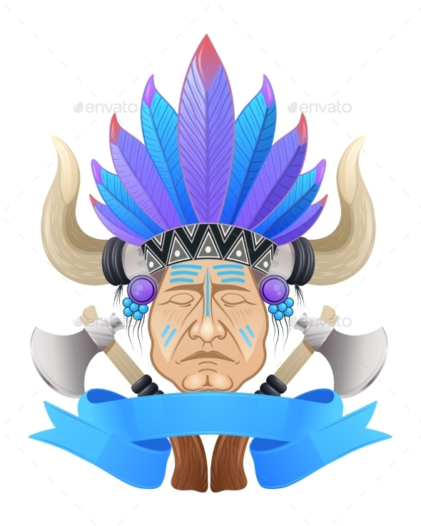 The Indian Chief With a Tomahawk. - People Characters