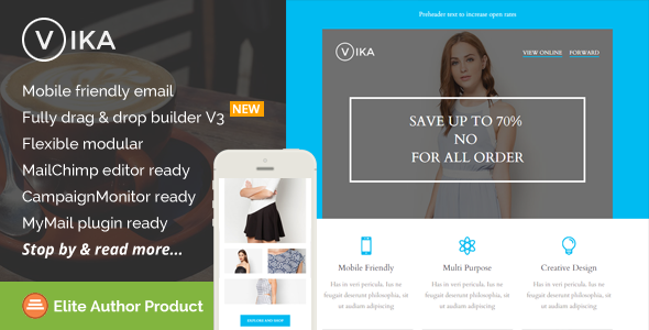 Vika, Modern Email Template with Builder Access - Newsletters Email Templates