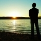 The Lonely Man Longs And Looks At A Sunset. - VideoHive Item for Sale