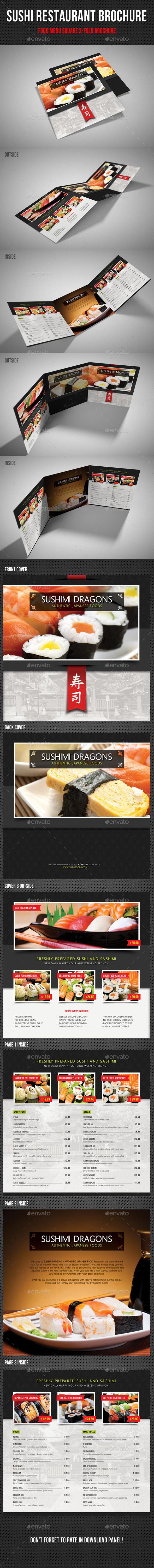 Sushi Restaurant Menu Square 3-Fold Brochure 04 - Food Menus Print Templates