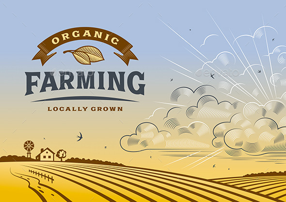 Organic Farming Landscape - Decorative Symbols Decorative