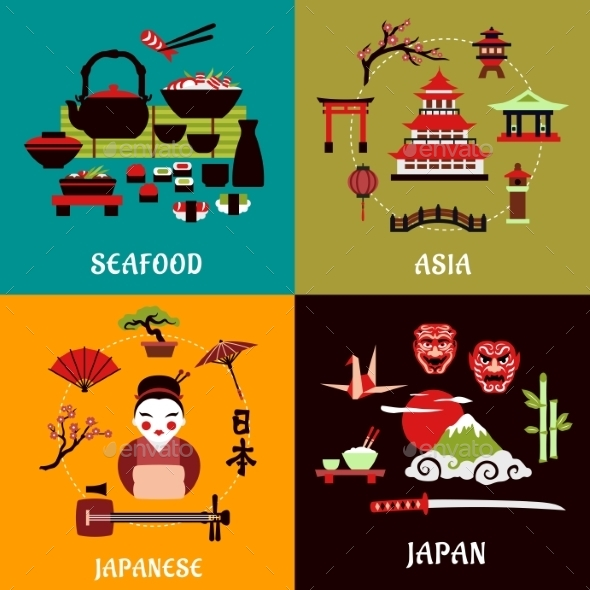 Japanese Culture, History And Cuisine Designs - Travel Conceptual