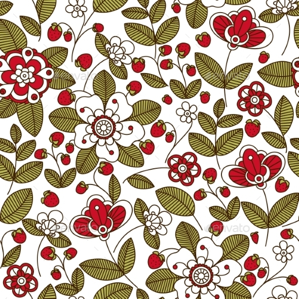 Strawberry with Red Flowers Seamless Pattern - Backgrounds Decorative