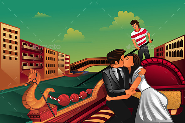 Young Couple Kissing on Boat - People Characters