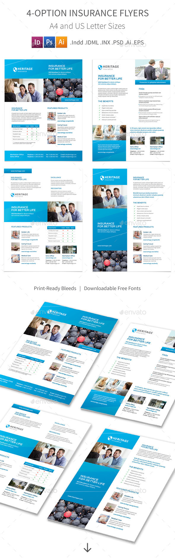 Insurance Company Flyers – 4 Options - Corporate Flyers