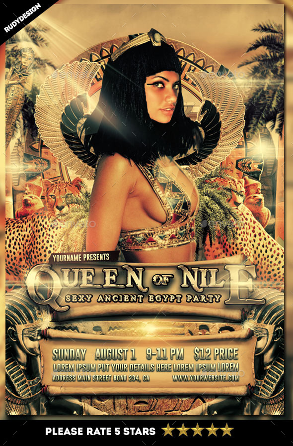 Queen of Nile Ancient Egypt Party Flyer - Clubs & Parties Events