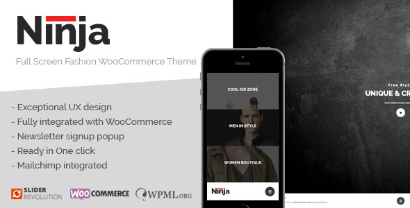 Ninja – Full Screen Fashion WooCommerce Theme