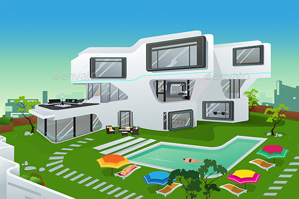 People in a Modern Style House - Buildings Objects