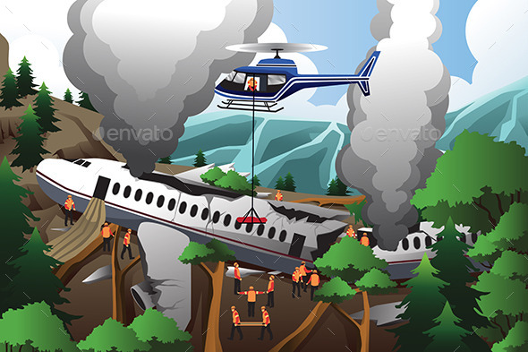 Search and Rescue for Airplane Crash - People Characters