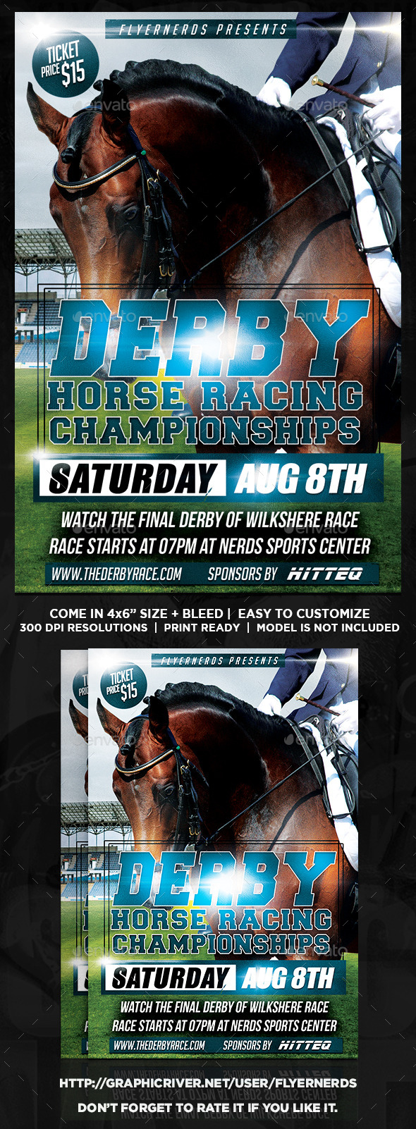 Derby Horse Racing Champioships Sports Flyer  - Sports Events