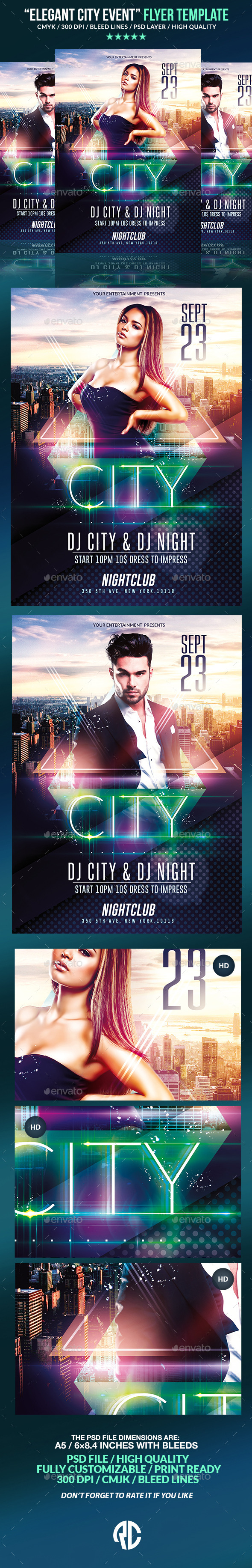 Elegant City Event | Psd Flyer Template  - Clubs & Parties Events
