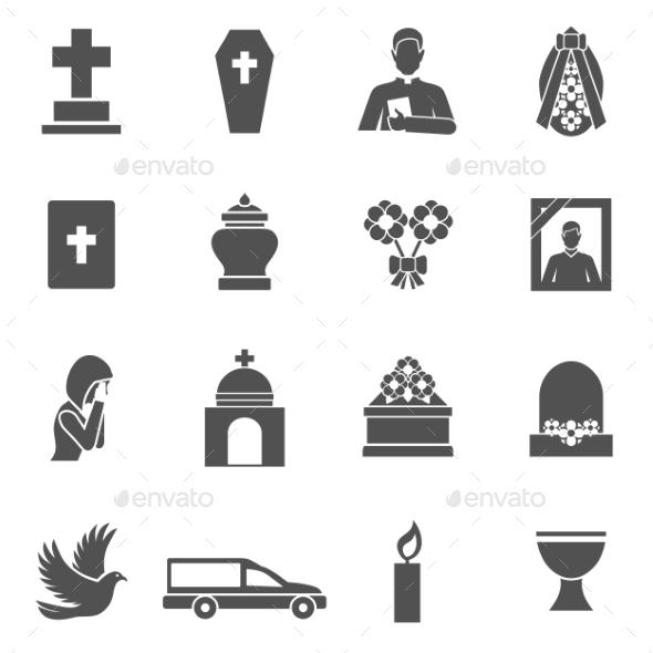 Funeral Icons Set - Miscellaneous Vectors