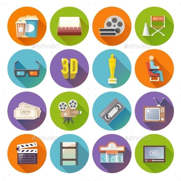 Cinema Retro Flat Round Icons Set - Miscellaneous Icons