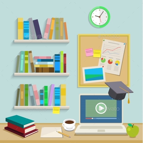 Workplace with Computer for Online Education - Backgrounds Business