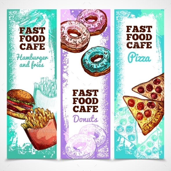 Fast Food Vertical Banners  - Food Objects