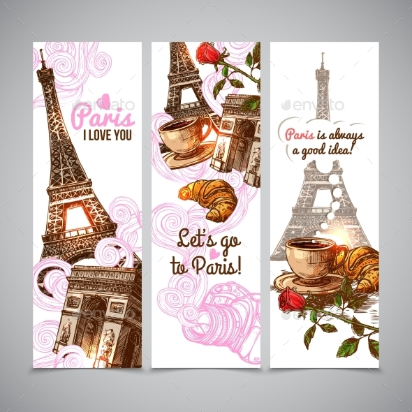 Paris Vertical Banners - Miscellaneous Vectors