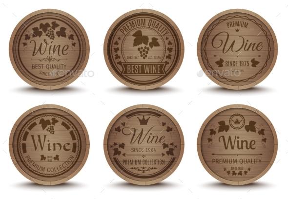 Wine Barrels Icons Set - Food Objects