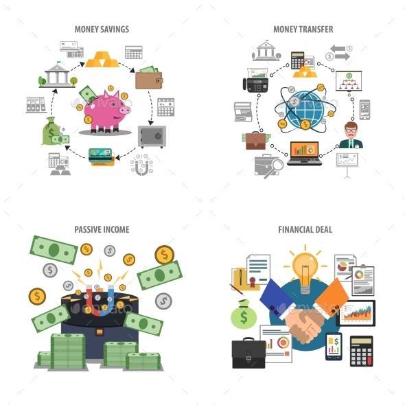 Finance Decorative Icons Set - Concepts Business