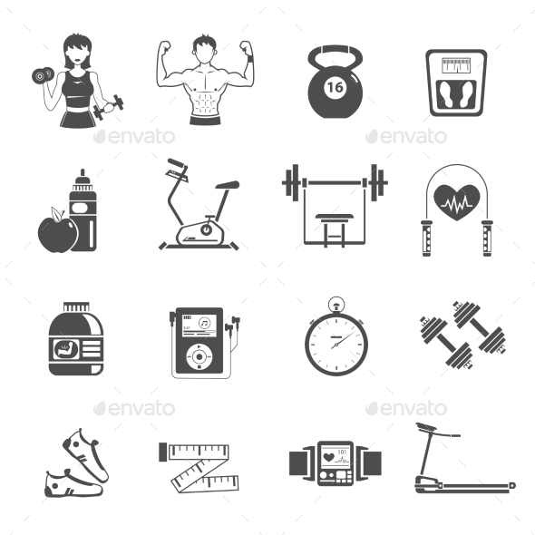 Gym Icon Black Set - Miscellaneous Icons
