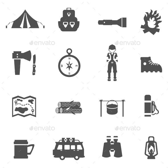 Camping Icons Black - Miscellaneous Vectors
