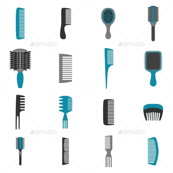 Comb Icons Flat Set - Objects Icons