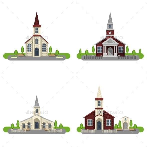 Church Decorative Flat Icon Set - Buildings Objects