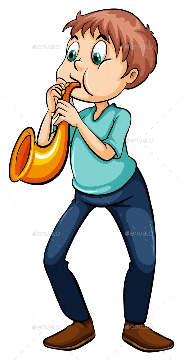 Man Playing Trumpet - People Characters