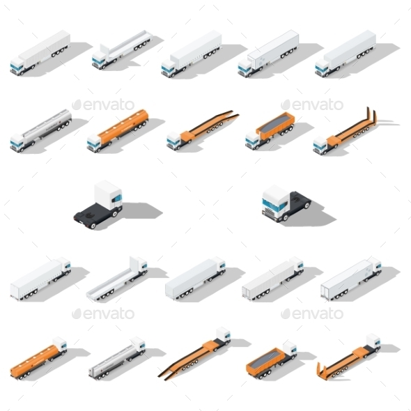 Trucks with Semitrailers Isometric Icons - Miscellaneous Conceptual