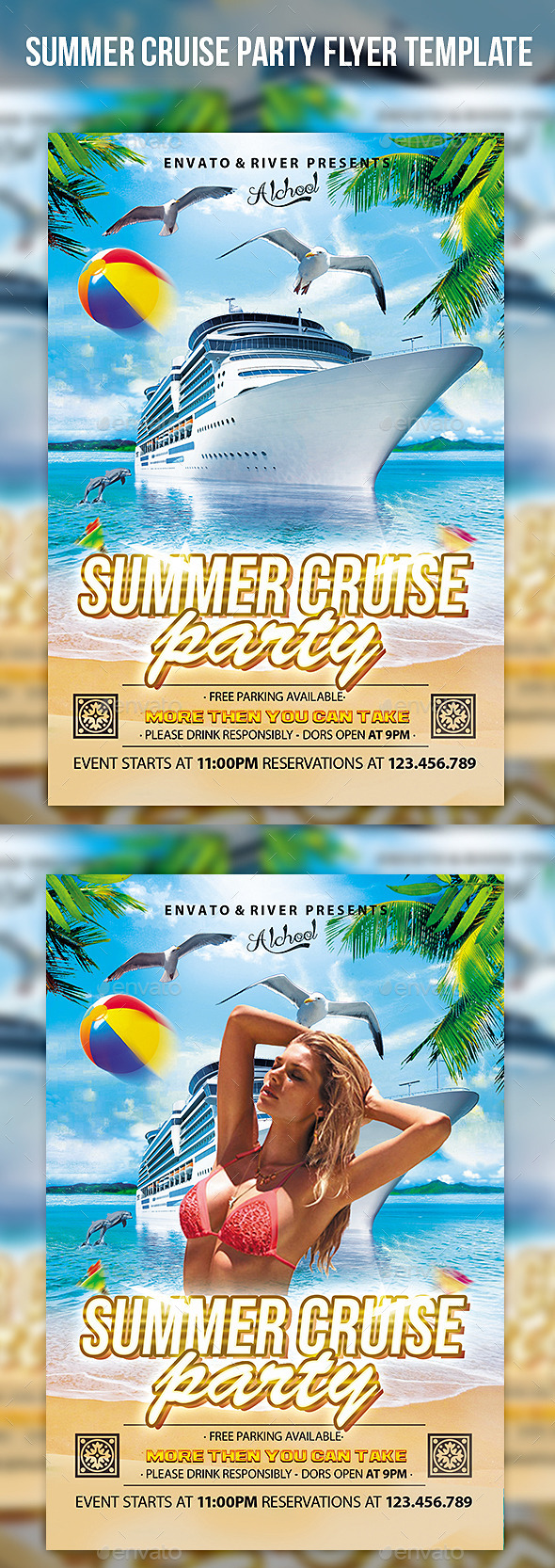 Summer Cruise Party Flyer Template - Events Flyers