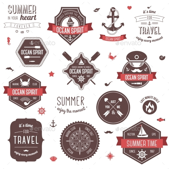 Vintage Labels Set - Decorative Symbols Decorative