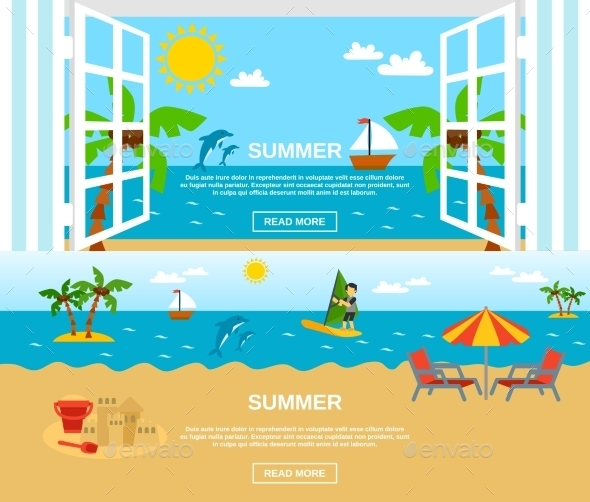Summer and Beach Banners Set - Travel Conceptual