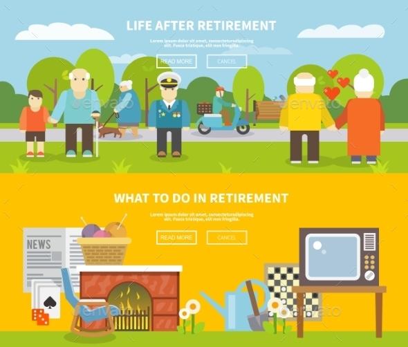 Pensioners Life Banner Set - Miscellaneous Vectors
