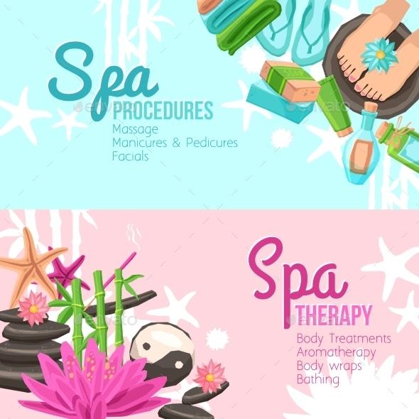 Spa Banners Set - Health/Medicine Conceptual
