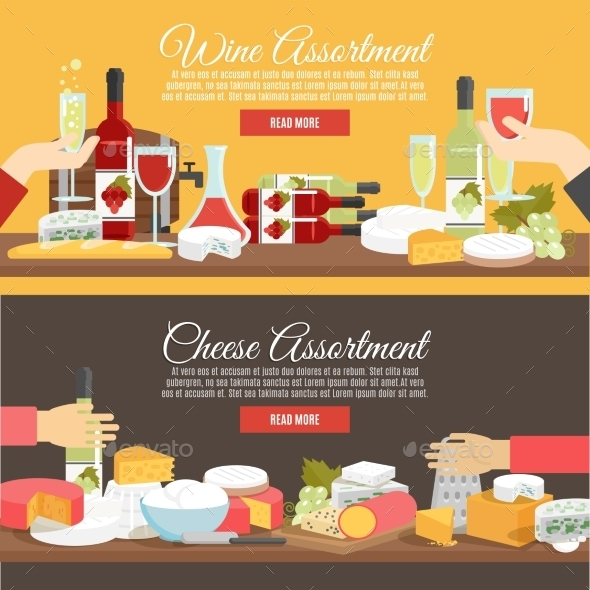 Cheese and Wine Flat Banner Set - Food Objects