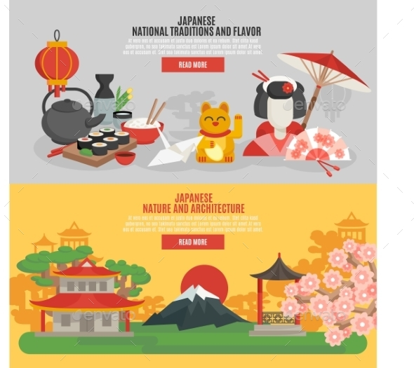 Japanese Tradition Flat Banner Set - Travel Conceptual
