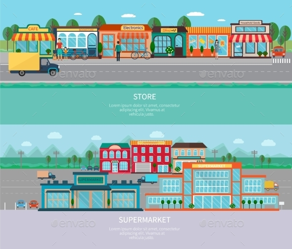 Store and Supermarket Banners Set - Buildings Objects