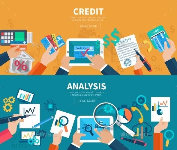 Credit Analysis Banner Set - Backgrounds Business