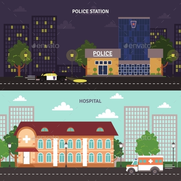 Urban Landscape Horizontal Banners Set - Miscellaneous Conceptual