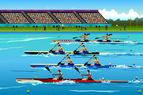 People Riding Canoe in River During Competition - Sports/Activity Conceptual