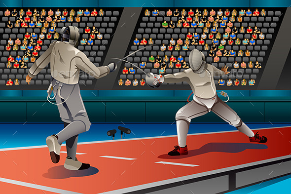 Two Men Fencing in the Competition - Sports/Activity Conceptual