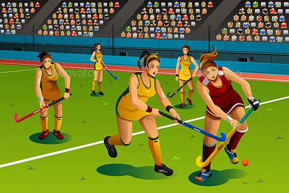 People Playing Field Hockey in the Competition - Sports/Activity Conceptual