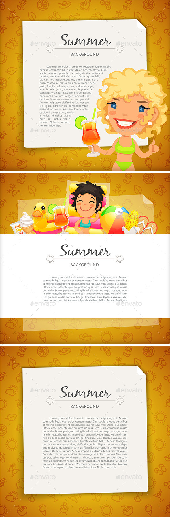 Colorful Summer Background with Young Woman - Backgrounds Decorative