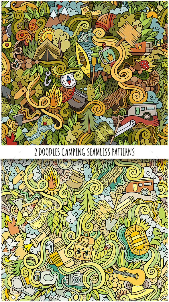 2 Camping Doodles Seamless Patterns - Nature Conceptual