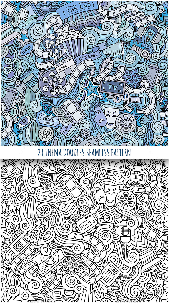 2 Cinema Doodles Seamless Patterns - Media Technology