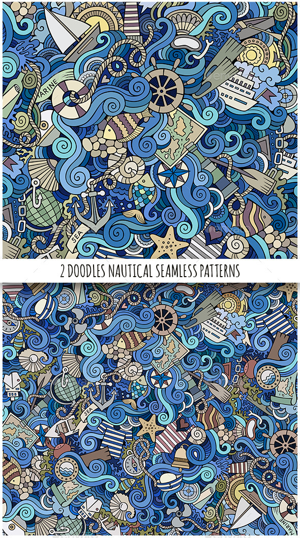 2 Nautical Doodles Seamless Patterns - Travel Conceptual