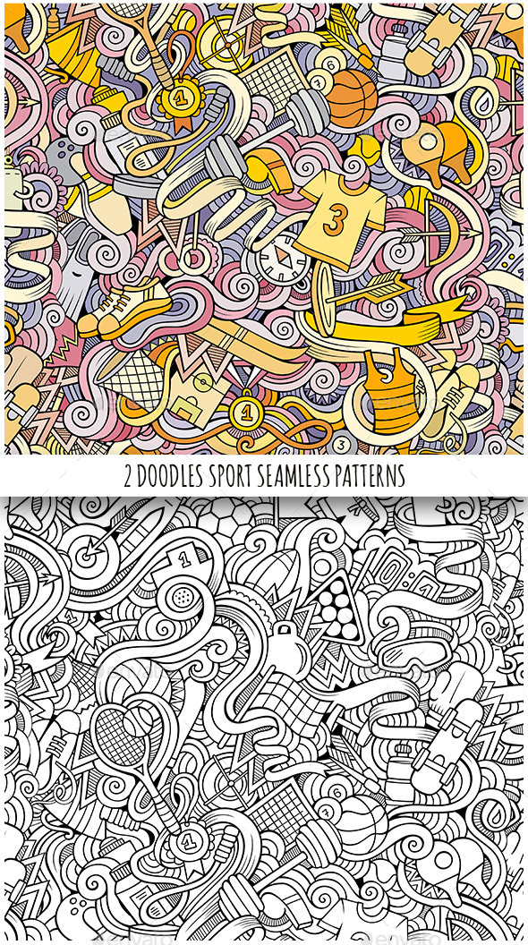 2 Sport Doodles Seamless Patterns - Sports/Activity Conceptual