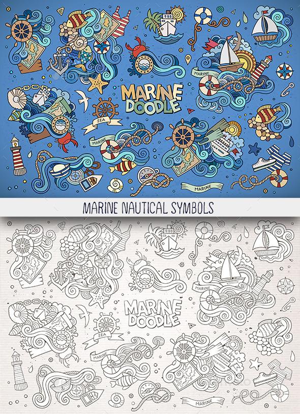 Hand Drawn Nautical Doodles Symbols - Miscellaneous Vectors
