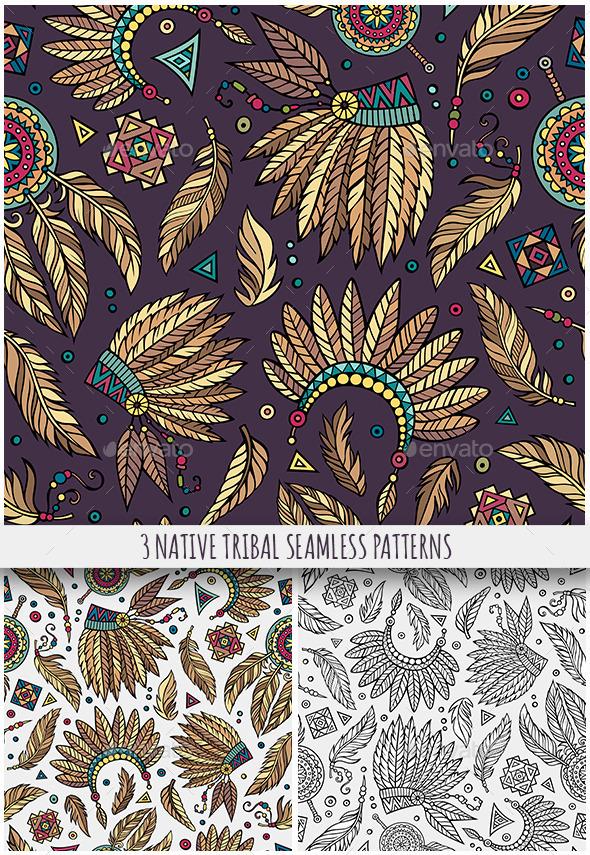 3 Tribal Native Ethnic Seamless Patterns - Decorative Symbols Decorative
